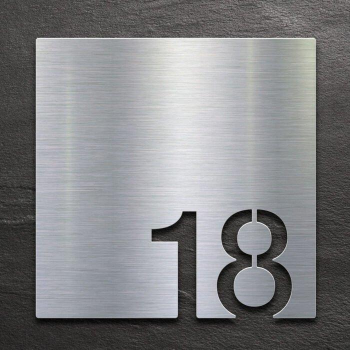 Edelstahl Zimmernummer - selbstklebende Raumnummer für Hotel oder Praxis von INOXSIGN