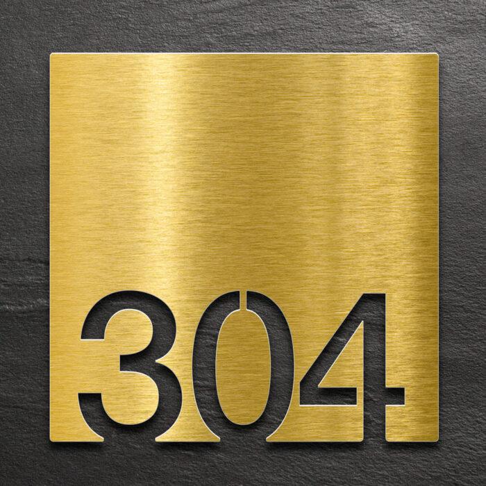 Messing Zimmernummer - selbstklebende Raumnummer für Hotel oder Praxis von INOXSIGN