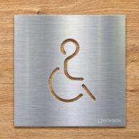 Edelstahl WC-Schild - selbstklebendes Toiletten-Schild - Rollstuhlfahrer Piktogramm - INOXSIGN