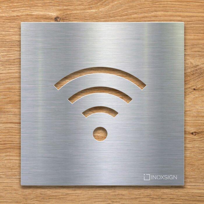 Edelstahl Hinweis-Schild WIFI - selbstklebendes Türschild für WLAN - Piktogramm von INOXSIGN