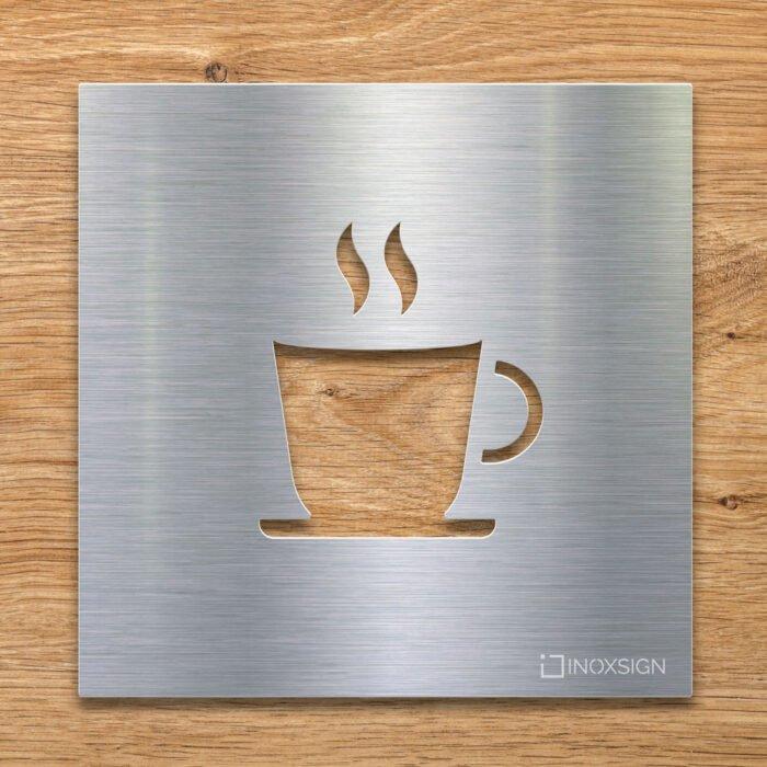 Edelstahl Hinweis-Schild Kaffee - selbstklebendes Türschild für Cafe mit Tasse - Piktogramm von INOXSIGN