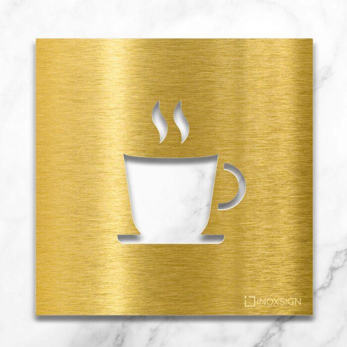 """Messing Hinweisschild """"Kaffee"""" / H.03.M 1"""
