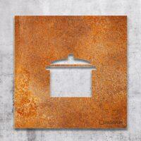 Vintage Hinweis-Schild Küche - selbstklebendes Retro Türschild - Piktogramm von INOXSIGN