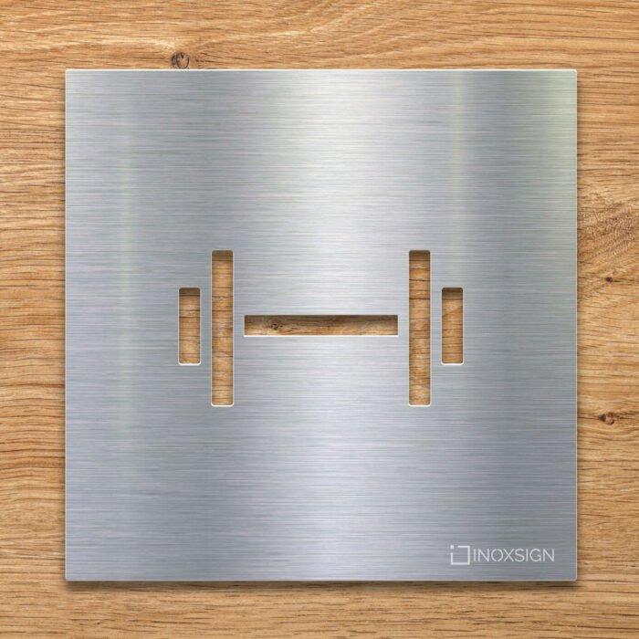 Edelstahl Hinweis-Schild Fitness-Raum - selbstklebendes Türschild - Piktogramm von INOXSIGN