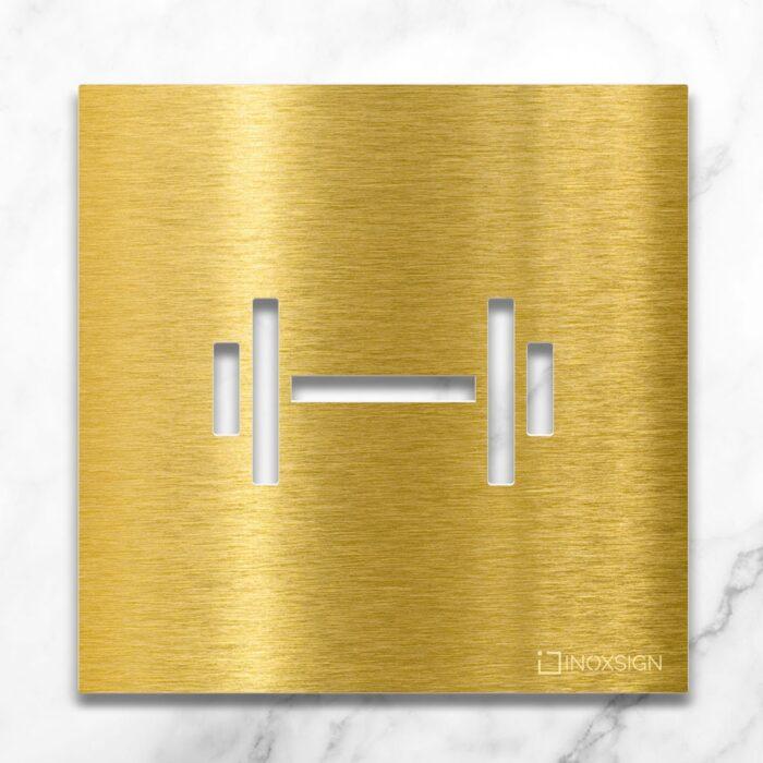 """Messing Hinweisschild """"Fitness"""" / H.07.M 1"""