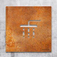 Vintage Hinweis-Schild Dusche - selbstklebendes Retro Türschild - Piktogramm von INOXSIGN