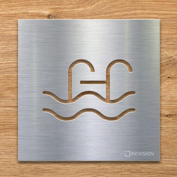 Edelstahl Hinweis-Schild Schwimmbad - selbstklebendes Türschild für Pool - Piktogramm von INOXSIGN
