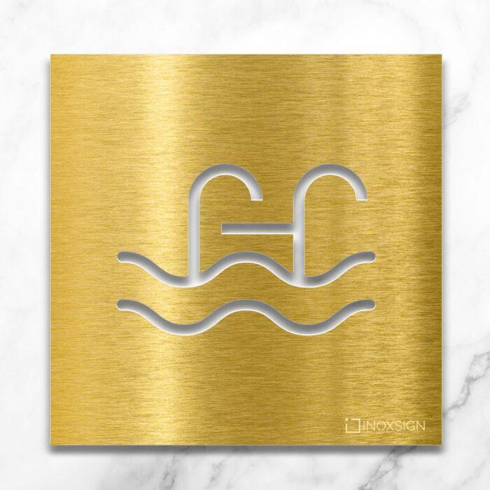 "Messing Hinweisschild ""Schwimmbad"" / H.09.M 1"