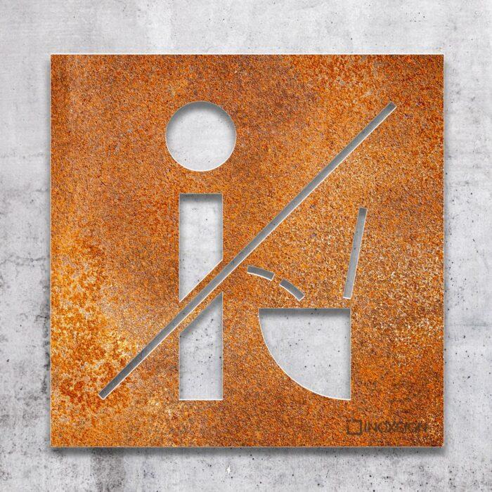Vintage WC-Schild Nicht im stehen pinkeln - selbstklebendes Retro Toilettenschild bitte setzen - Piktogramm und Türschild von INOXSIGN