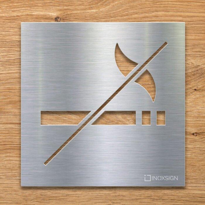 Edelstahl Hinweis-Schild Rauchverbot - selbstklebendes Verbotsschild Rauchen Verboten - Piktogramm und Türschild von INOXSIGN