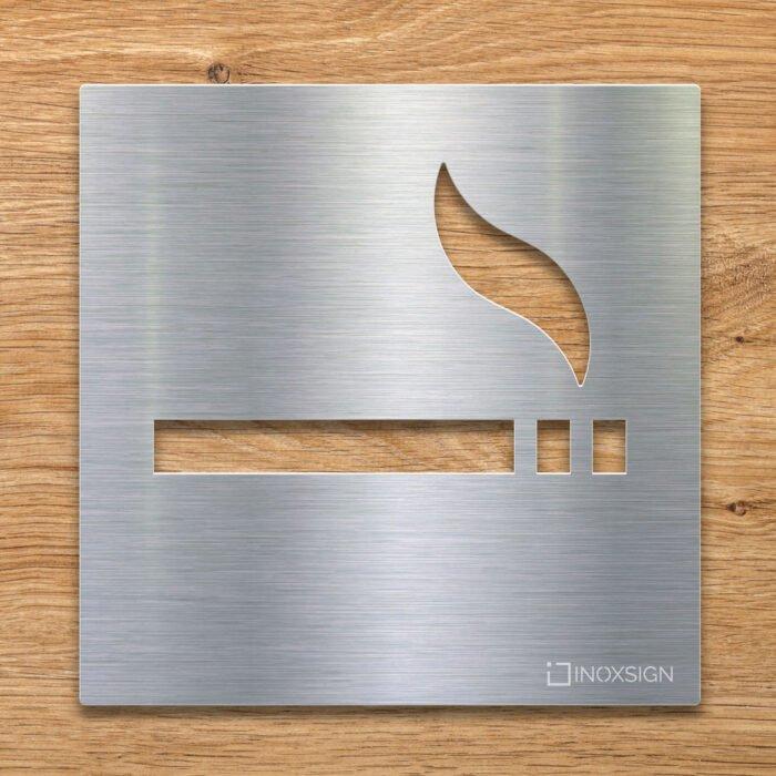 Edelstahl Hinweis-Schild Rauchen erlaubt - selbstklebendes Türschild für raucherbereich- Piktogramm von INOXSIGN