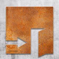 Vintage Hinweis-Schild Ausgang rechts - selbstklebendes Retro Türschild - Piktogramm von INOXSIGN