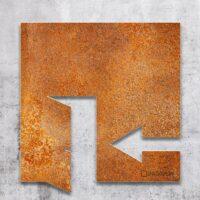 Vintage Hinweis-Schild Ausgang links - selbstklebendes Retro Türschild - Piktogramm von INOXSIGN