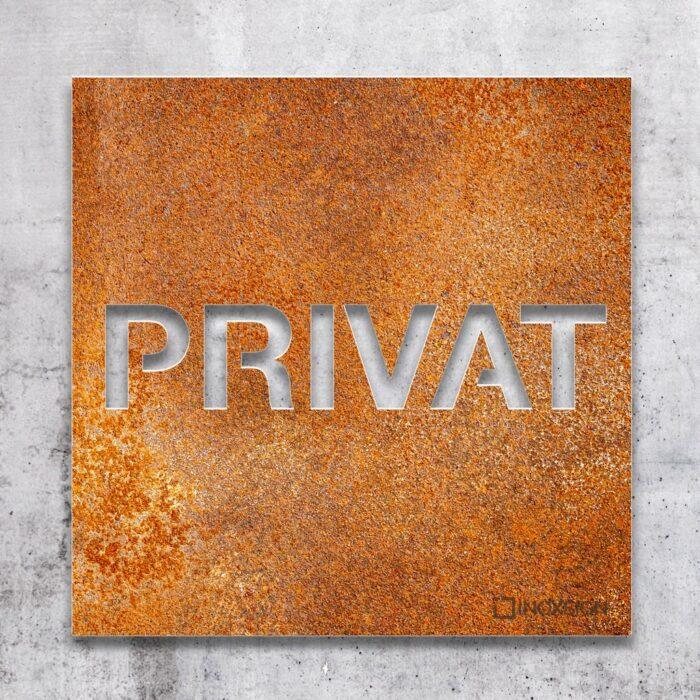 Vintage Hinweis-Schild Privat - selbstklebendes Retro Türschild - Piktogramm von INOXSIGN