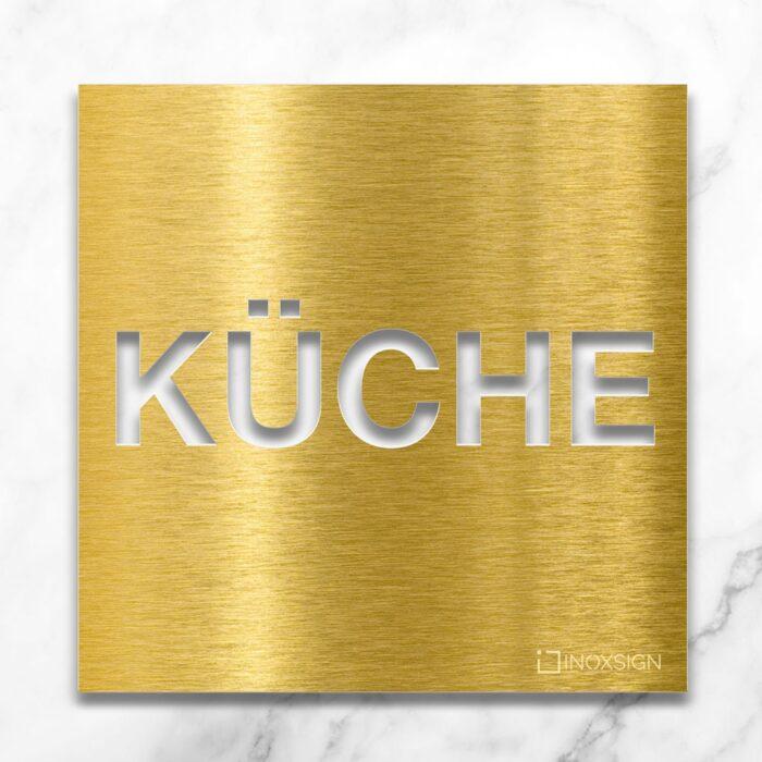 """Messing Hinweisschild """"Küche"""" / H.63.M 1"""