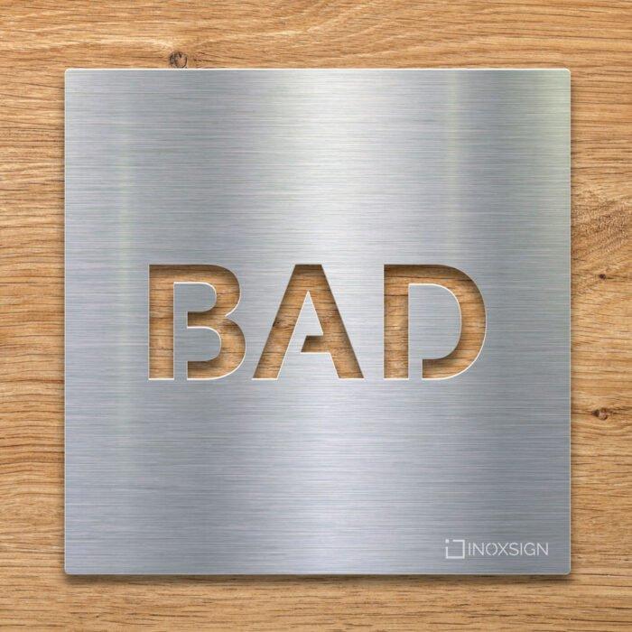 Edelstahl Hinweis-Schild BAD - selbstklebendes Türschild für Badezimmer - Piktogramm von INOXSIGN