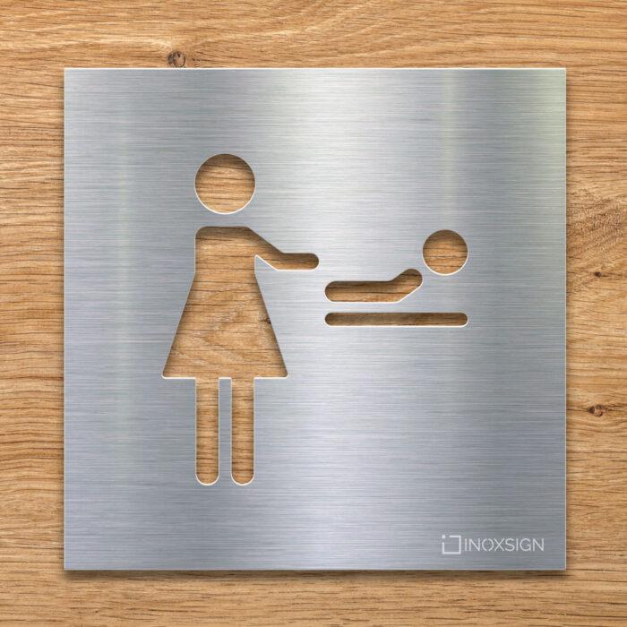 Edelstahl Hinweis-Schild für Wickel-Raum - Piktogramm Wickeltisch - selbstklebendes Türschild von INOXSIGN