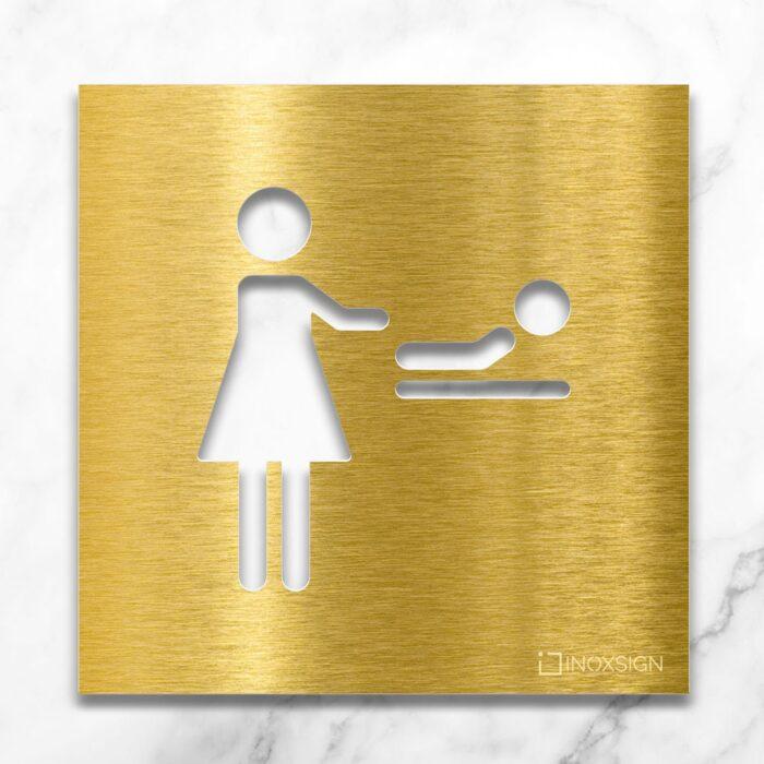 Messing Hinweis-Schild für Wickelraum - selbstklebendes Türschild - Piktogramm Wickeltisch von INOXSIGN