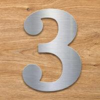 Edelstahl Hausnummer 3 von INOXSIGN - Design Hausnummernschild modern - wetterfest und rostfrei