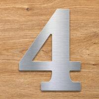 Edelstahl Hausnummer 4 von INOXSIGN - Design Hausnummernschild modern - wetterfest und rostfrei