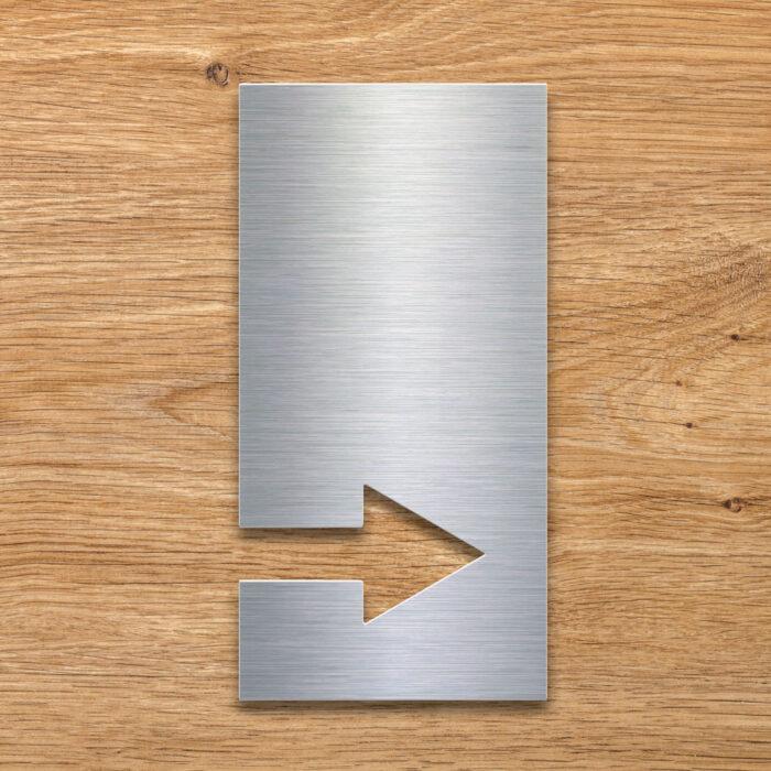 Edelstahl Pfeil Schild rechts - selbstklebendes Hinweis-Schild - Piktogramm von INOXSIGN