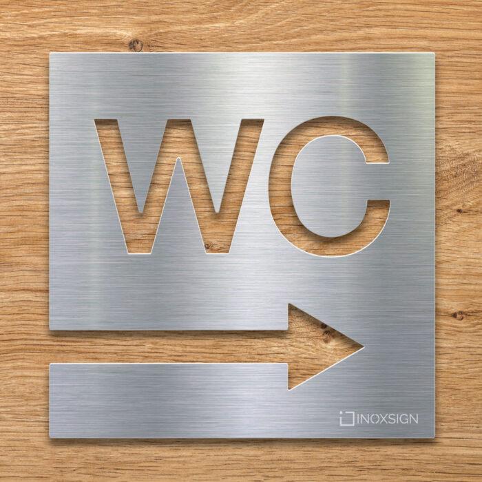 Edelstahl WC-Schild mit Pfeil Richtung rechts - selbstklebendes Toiletten-Schild - Piktogramm für Toilette - INOXSIGN