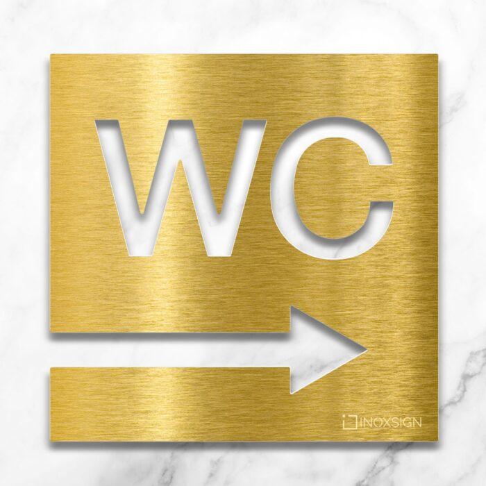 Messing WC-Schild mit Pfeil Richtung rechts - selbstklebendes Toiletten-Schild - Piktogramm für Toilette - INOXSIGN