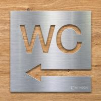 Edelstahl WC-Schild mit Pfeil Richtung links - selbstklebendes Toiletten-Schild - Piktogramm für Toilette - INOXSIGN