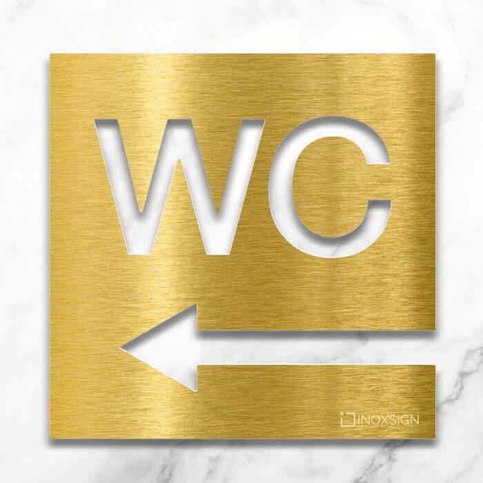 Messing WC-Schild mit Pfeil Richtung links - selbstklebendes Toiletten-Schild - Piktogramm für Toilette - INOXSIGN