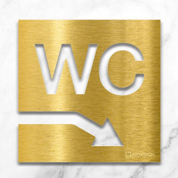 Messing WC-Schild rechts runter - selbstklebendes Toiletten-Schild für WC im Keller - Piktogramm für Toilette - INOXSIGN