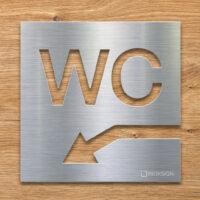 Edelstahl WC-Schild mit Pfeil nach links unten - selbstklebendes Toiletten-Schild für Keller- Piktogramm für Toilette - INOXSIGN