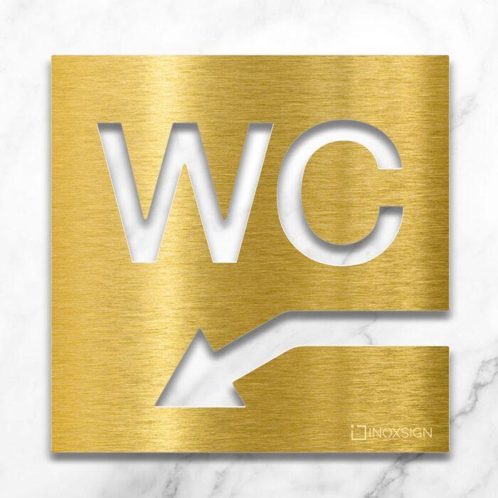 Messing WC-Schild mit Pfeil nach links unten - selbstklebendes Toiletten-Schild für Keller- Piktogramm für Toilette - INOXSIGN