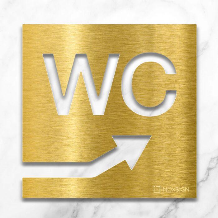 Messing WC-Schild mit Pfeil nach rechts oben - selbstklebendes Toiletten-Schild - Piktogramm für Toilette - INOXSIGN