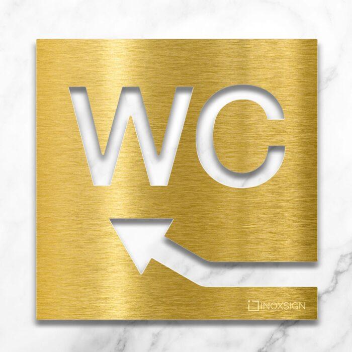 Messing WC-Schild mit Pfeil nach links oben - selbstklebendes Toiletten-Schild - Piktogramm für Toilette - INOXSIGN
