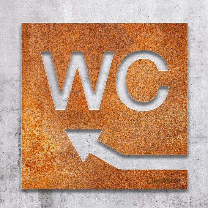 Vintage WC-Schild links hoch - selbstklebendes Retro Toiletten-Schild - Piktogramm für Toilette - INOXSIGN