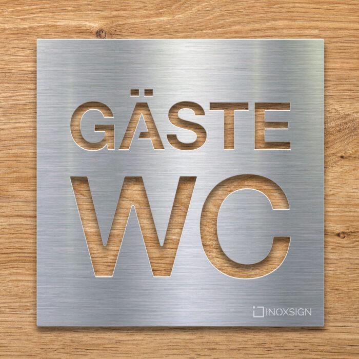 Edelstahl Gäste WC-Schild - selbstklebendes Toiletten-Schild - Piktogramm für Gäste-Toilette - INOXSIGN