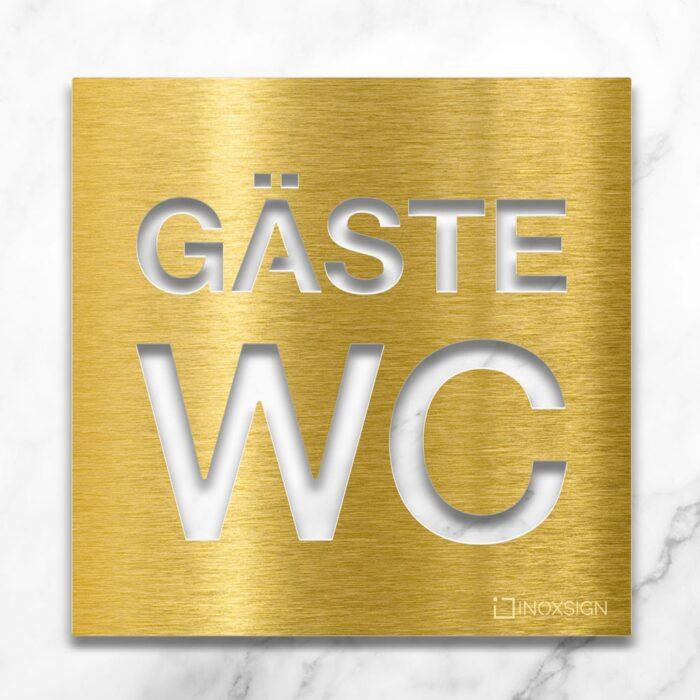 Messing Gäste WC-Schild - selbstklebendes Toiletten-Schild - Piktogramm für Gäste-Toilette - INOXSIGN