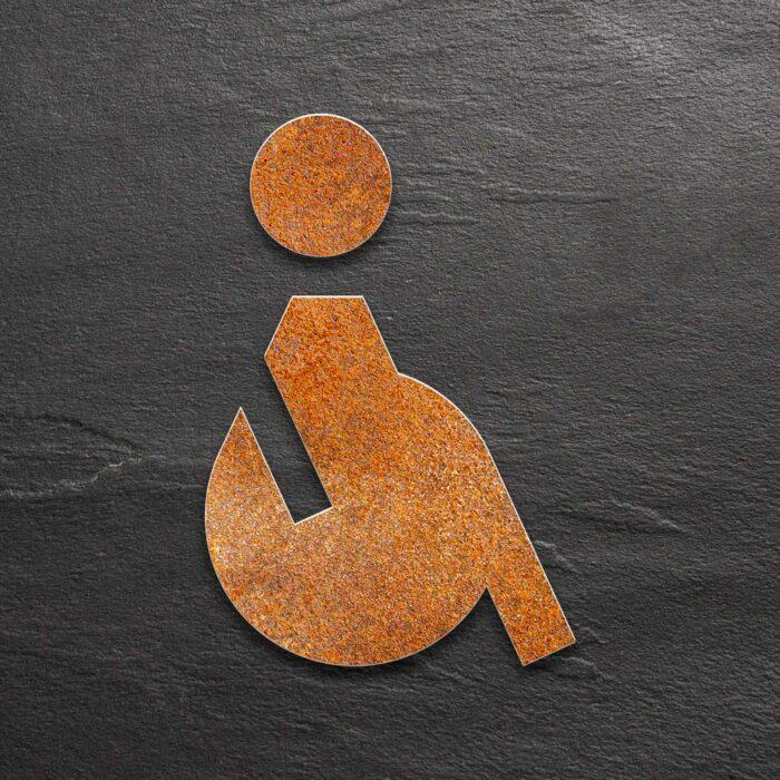 """Vintage WC-Schild """"Rollstuhlfahrer"""" / SB.01.R 1"""
