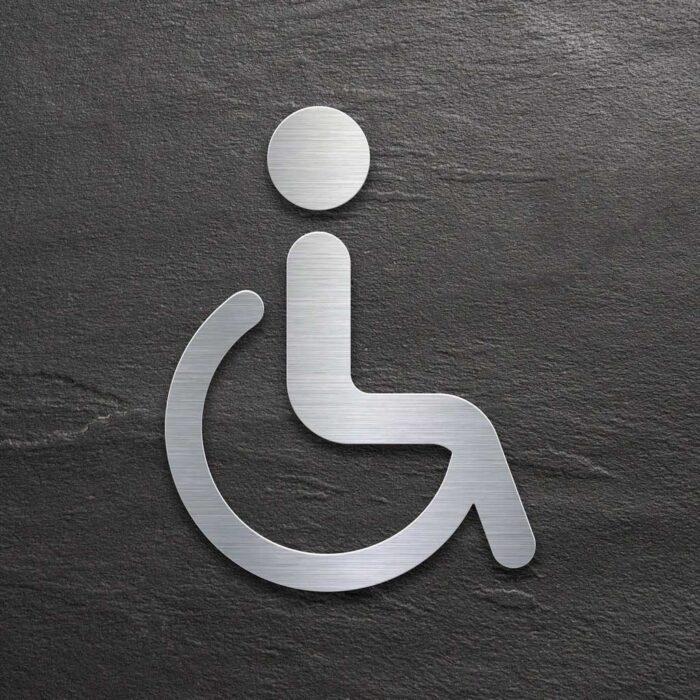 """Edelstahl WC-Schild """"Rollstuhlfahrer"""" / SB.06.E 1"""