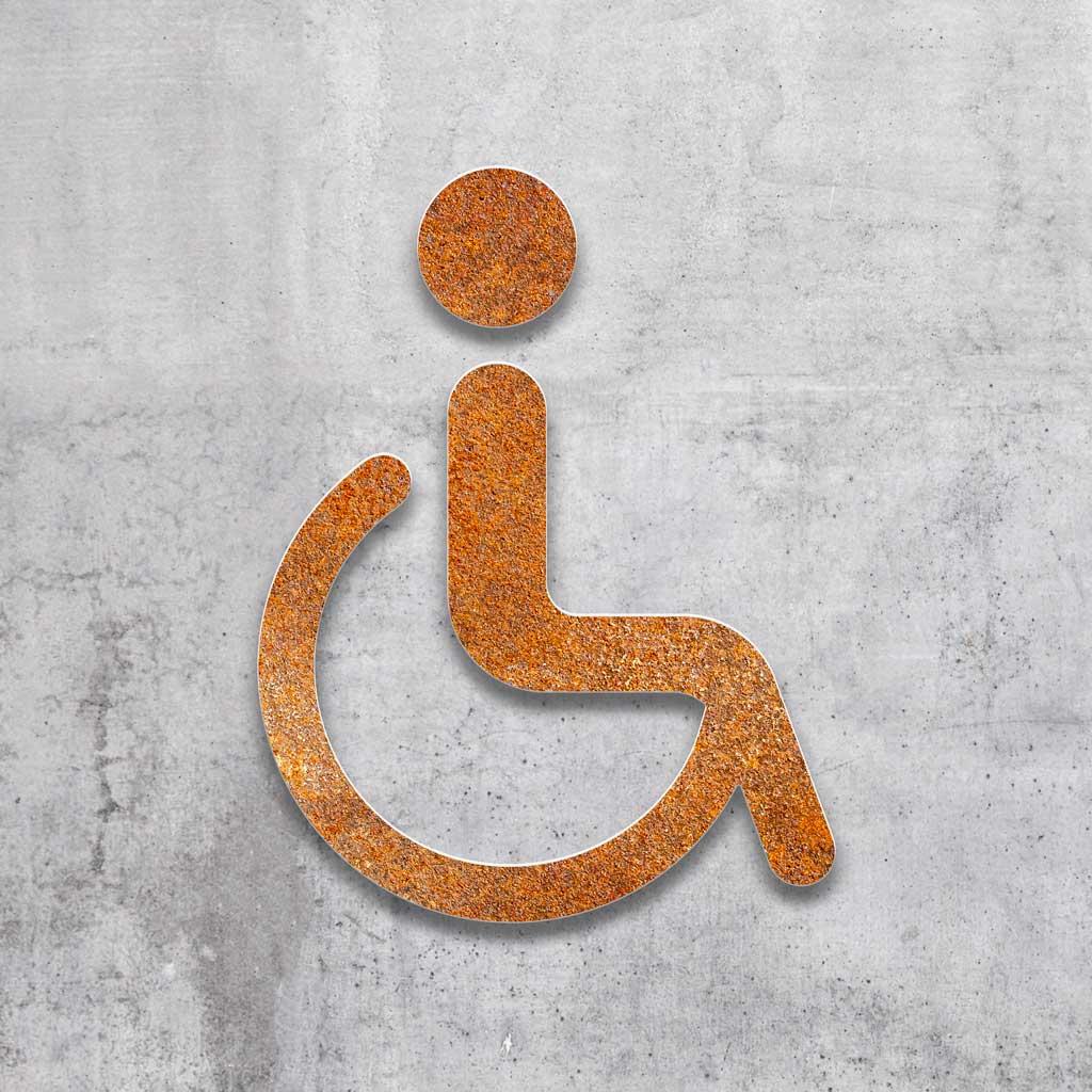 B.06.R INOXSIGN Vintage WC-Schild selbstklebend Rollstuhl-Fahrer Piktogramm Retro Toiletten-Schild