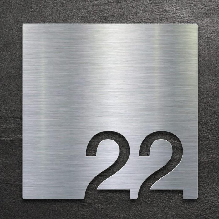 Edelstahl Zimmernummer 22 / Z.03.022.E 1