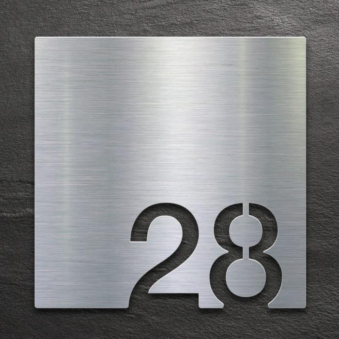Edelstahl Zimmernummer 28 / Z.03.028.E 1