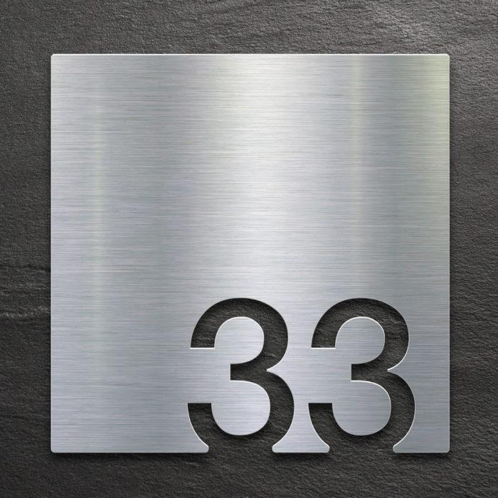 Edelstahl Zimmernummer 33 / Z.03.033.E 1