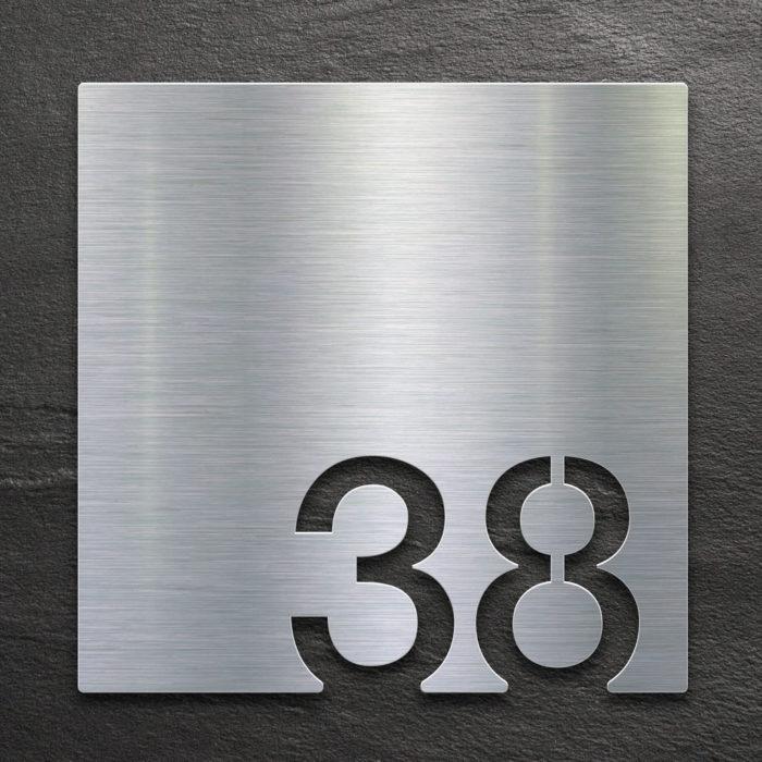 Edelstahl Zimmernummer 38 / Z.03.038.E 1