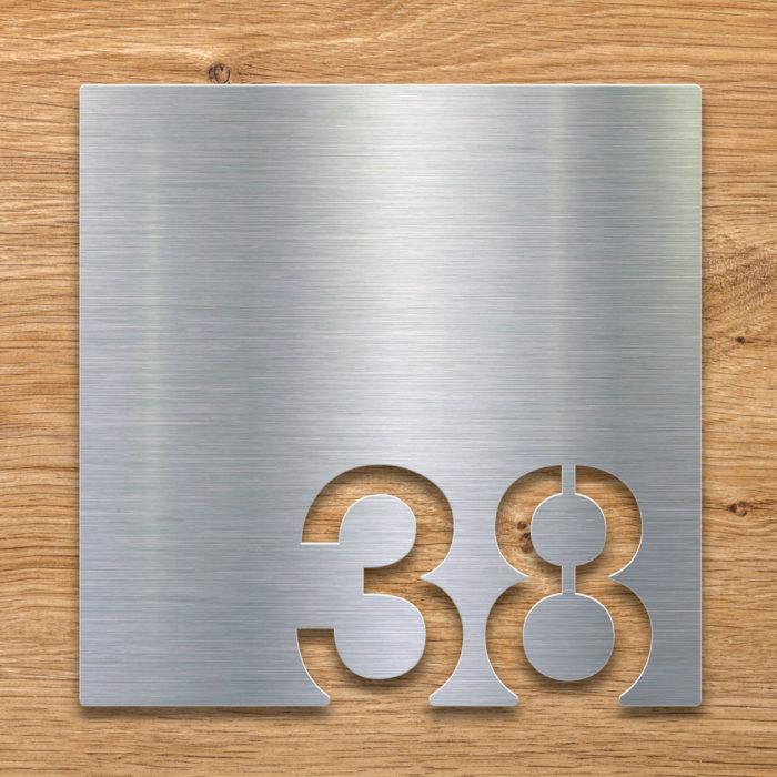 Edelstahl Zimmernummer 38 / Z.03.038.E 2