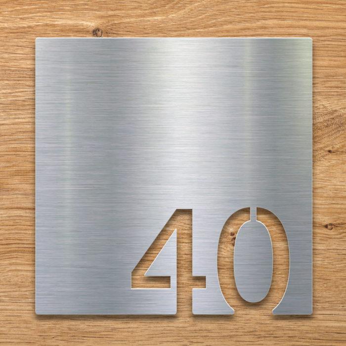 Edelstahl Zimmernummer 40 / Z.03.040.E 2