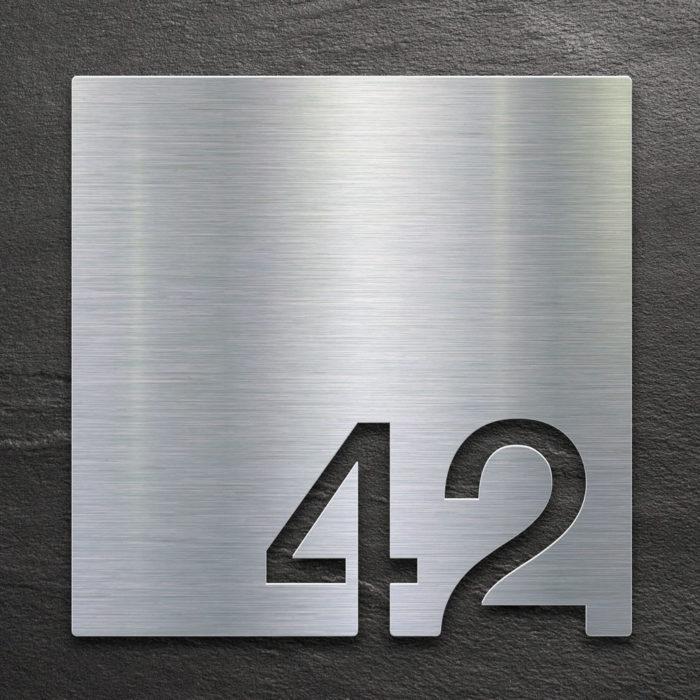 Edelstahl Zimmernummer 42 / Z.03.042.E 1