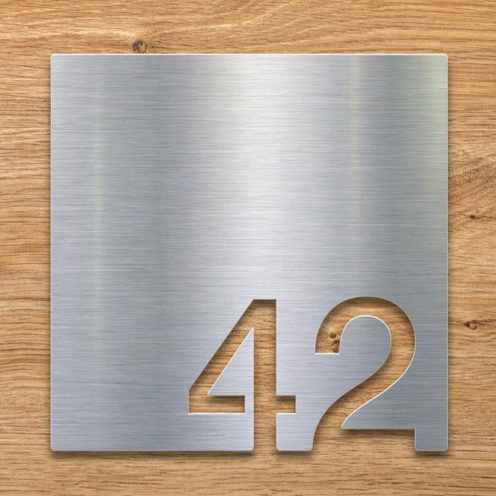 Edelstahl Zimmernummer 42 / Z.03.042.E 2