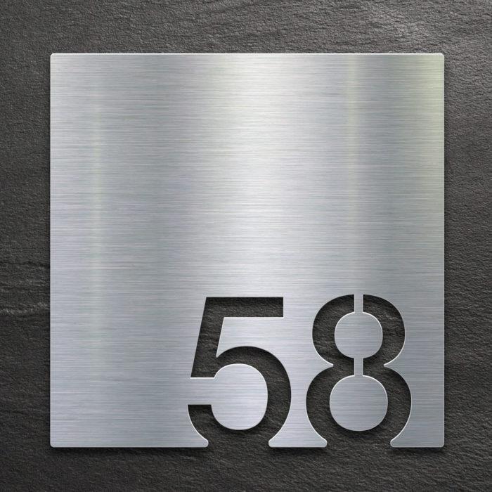 Edelstahl Zimmernummer 58 / Z.03.058.E 1