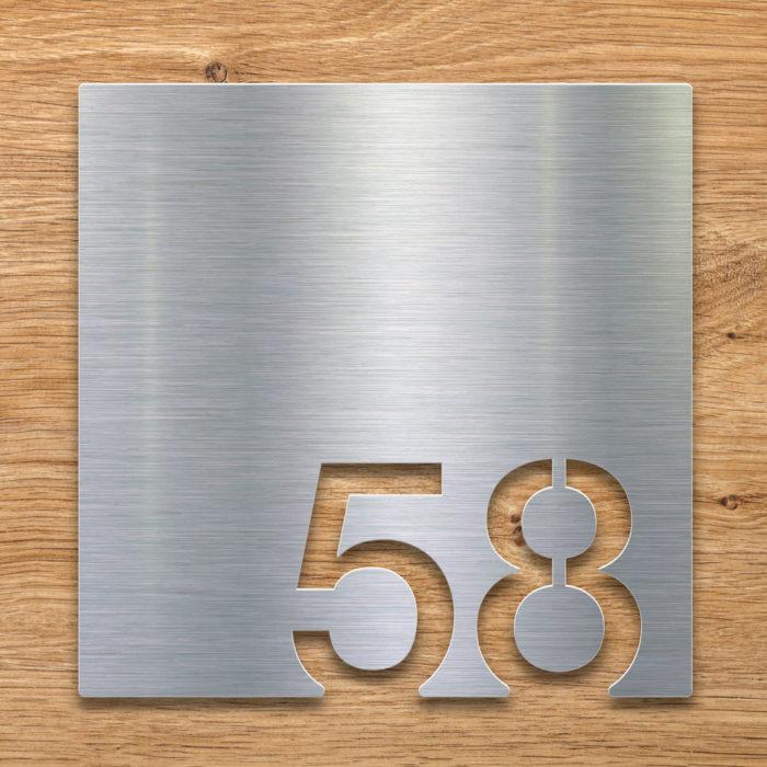 Edelstahl Zimmernummer 58 / Z.03.058.E 2